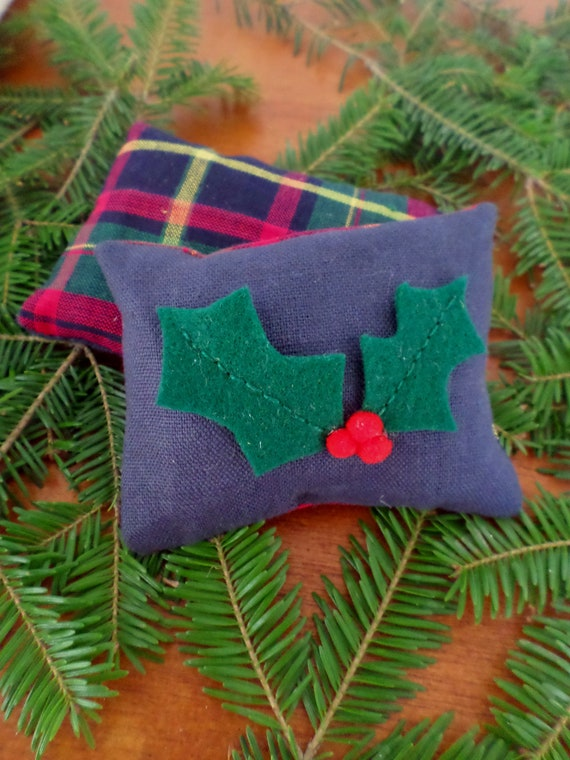 Maine Balsam Fir Sachet, Holly, Hand Embroidered, Made in Maine