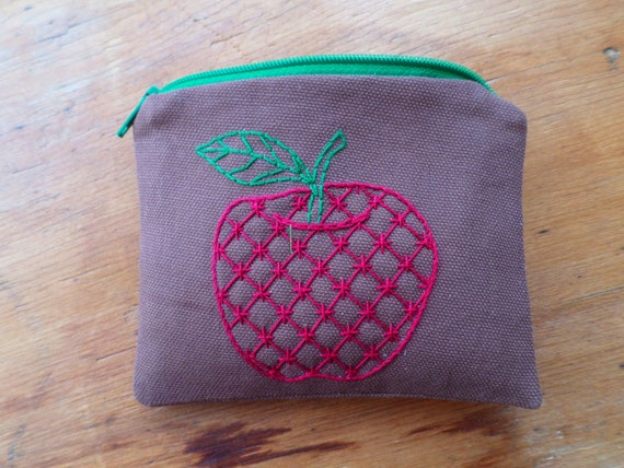 Apple Coin Purse Wallet / Hand Embroidered Zipper Pouch /  Zip Bag / Cotton Duck Canvas / Made in Maine