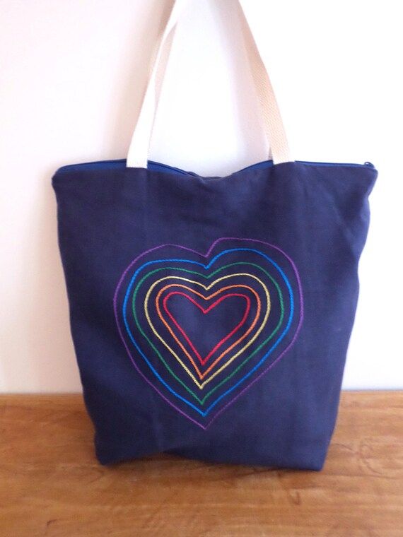 Rainbow Heart Zippered Linen Tote Bag / Hand Embroidered Purse / 100% Linen / Rainbow Valentine Bag / Unique Handmade Made in Maine