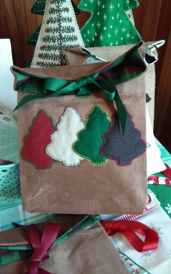 Corduroy  Holiday Gift Bag, Reuseable Christmas Fabric Gift Bag, Made in Maine, Christmas Tree