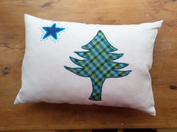 Maine Flag Pillow, Hand Embroidered Linen Throw Pillow, Made in Maine