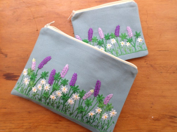 Wild Lupine & Daisies Zipper Bag Hand Embroidered, Made in Maine