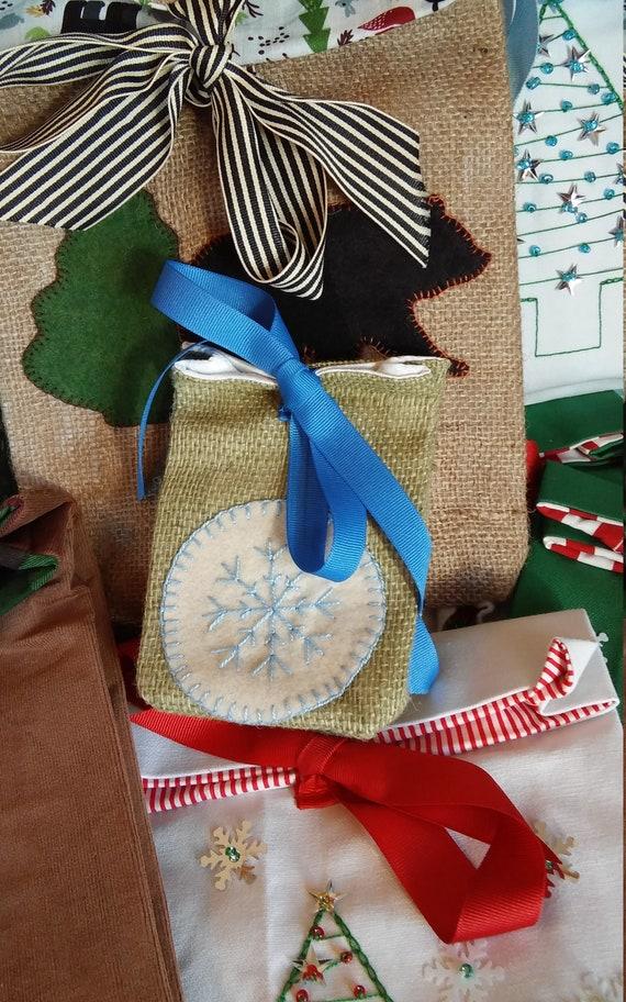 Mini Burlap Holiday Gift Bag, Reuseable Christmas Fabric Gift Bag, Made in Maine