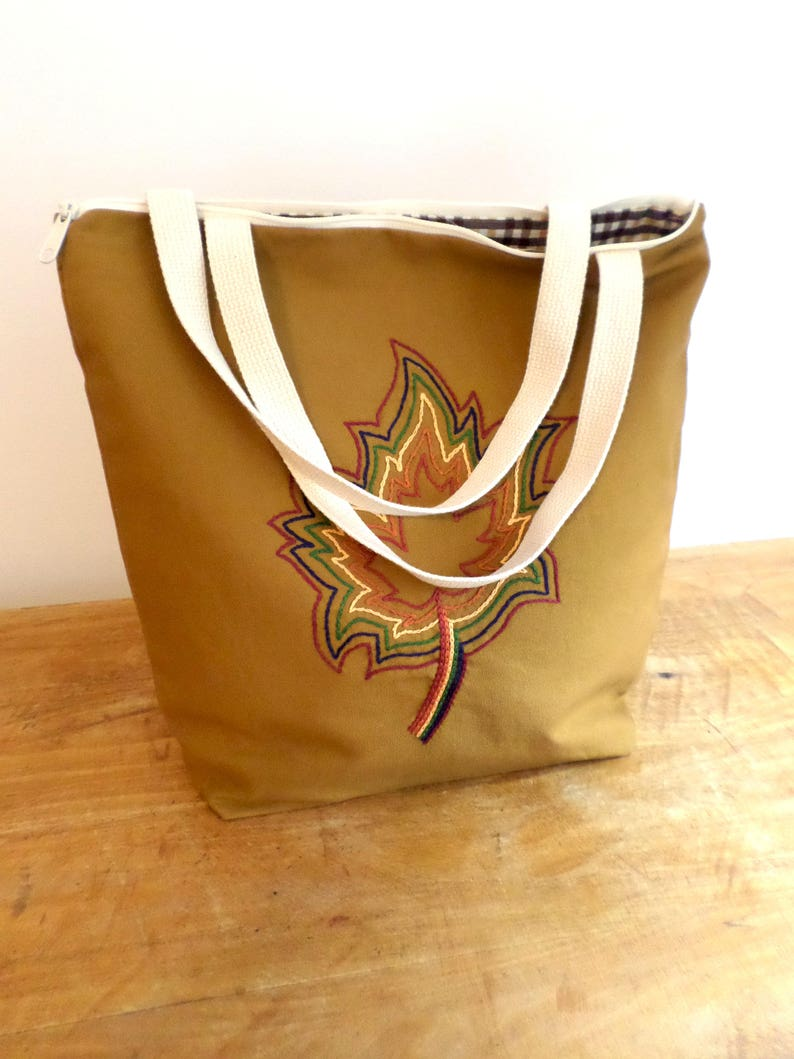 Autumn Leaves Zippered Tote Bag  Hand Embroidered Purse  Cotton Duck Canvas  Maple Leaf Tote  Unique Handmade Tote Bag  Made in Maine