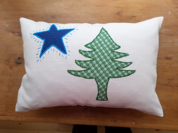 Original Maine Flag Pillow, Hand Embroidered Linen Throw Pillow, Made in Maine