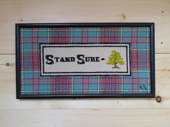 Stand Sure Vintage Hand-Embroidered Crewel Wall Art, Vintage Hand-Embroidered Inspirational Saying Stand Sure