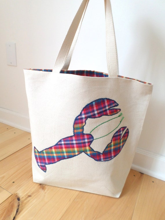 Lobster Tote Bag / Hand Embroidered Purse / Natural Cotton Duck Canvas / Preppy Plaid Handbag / Unique Handmade Bag / Made in Maine