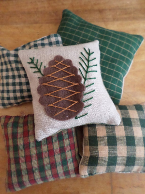 Maine Balsam Fir Sachet, Pinecone, Hand Embroidered, Made in Maine