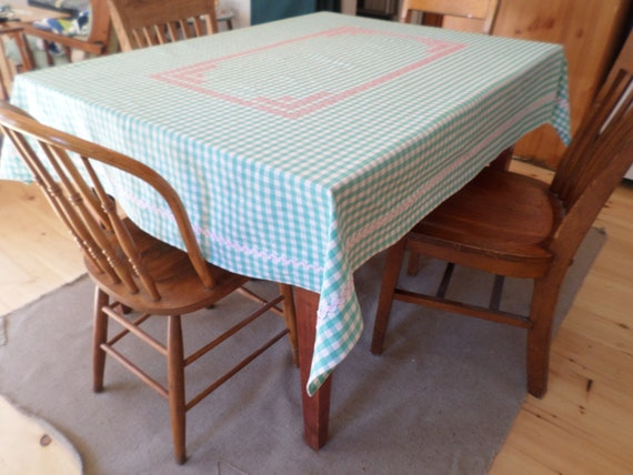 Hand Embroidered Gingham Tablecloth, Chicken Scratch, Made in Maine