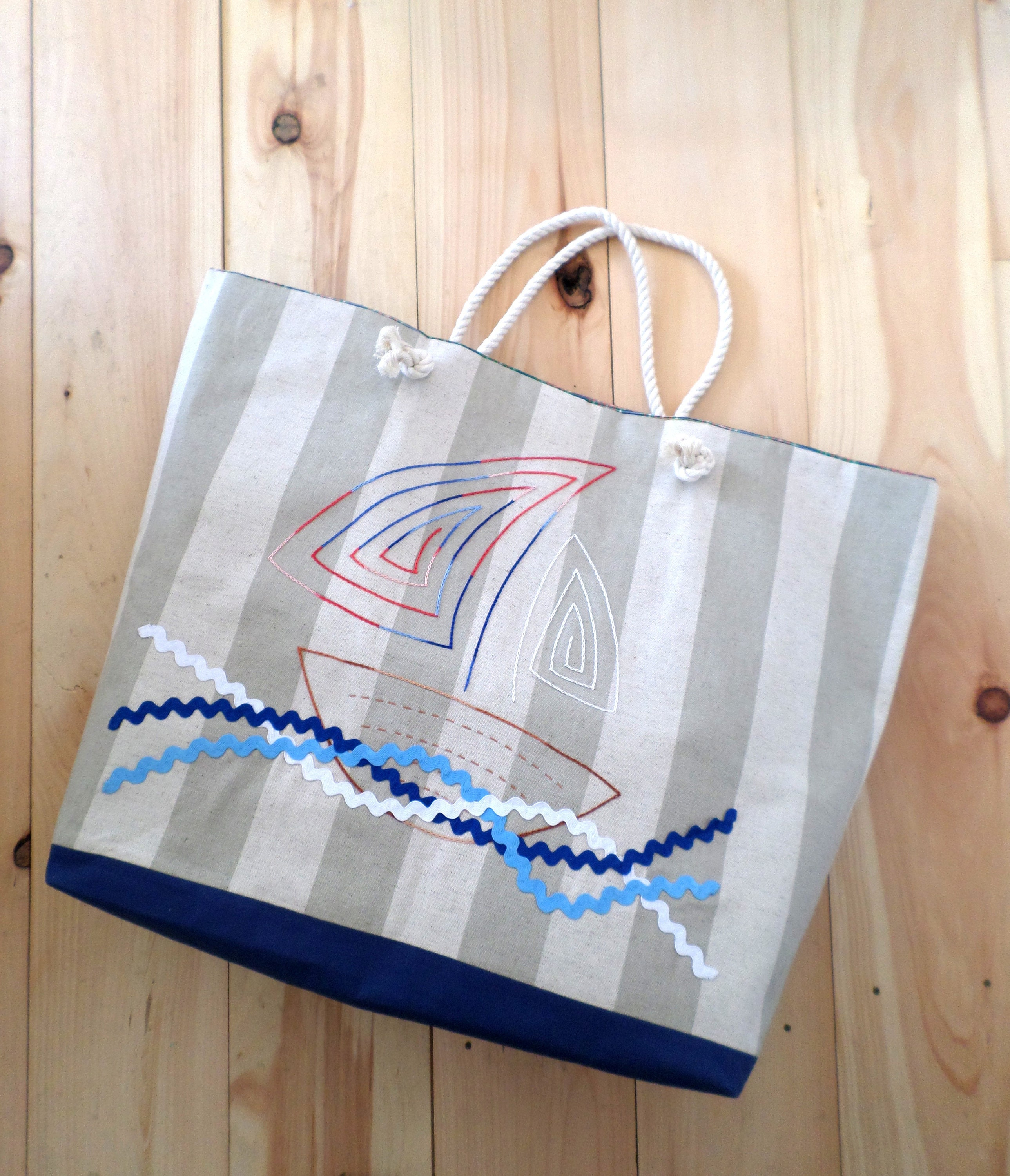 f97bf81b363d19 Sail Boat Striped Canvas Beach Bag XTRA LARGE / Hand Embroidered Tote Bag /  Rope Handles / Made in Maine