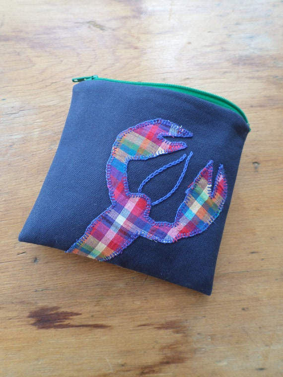 Rainbow Lobster Zipper Bag / Hand Embroidered Coin Purse / Cotton Duck Canvas Handbag / Zip Pouch / Made in Maine