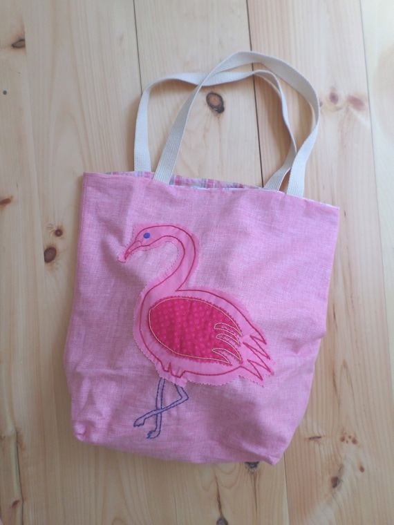 Pink Flamingo Linen Canvas Tote Bag / Hand Embroidered Tote Bag / Large Handmade Tote Bag / Made in Maine