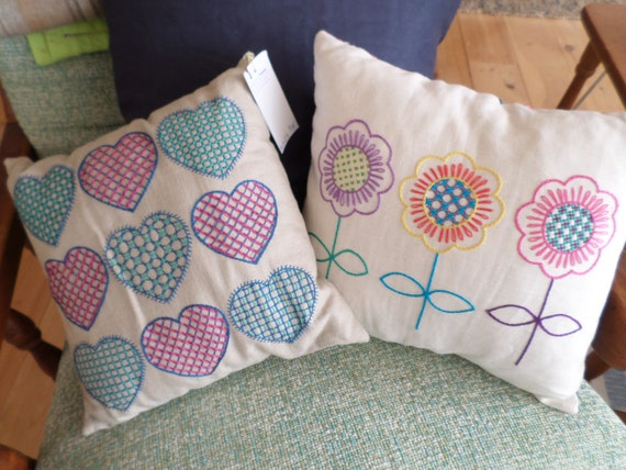 Scandinavian Hearts of Flowers, Hand Embroidered Linen Throw Pillow