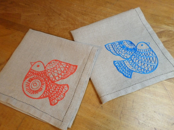 Hand Embroidered Linen Napkins, Set of 4, Scandinavian Design, Swedish Folk Table, Made in Maine
