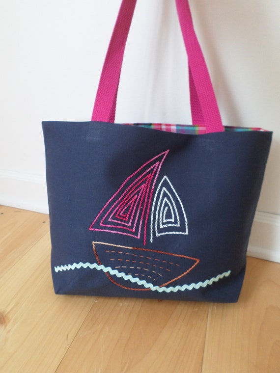 Sail Boat Tote Bag / Hand Embroidered Purse / Navy Blue Cotton Duck Canvas / Unique Tote Bag / Made in Maine