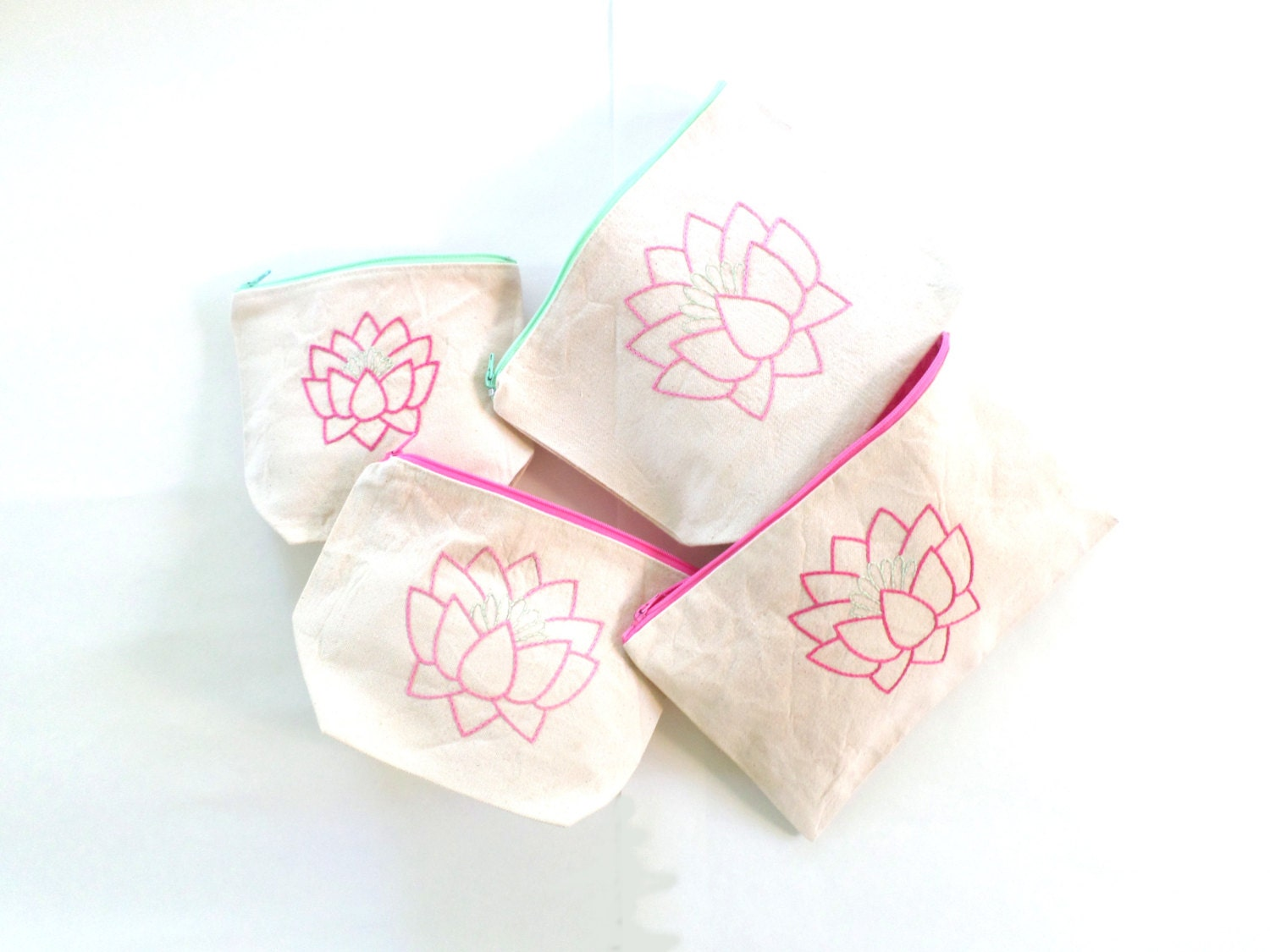 Pink Lotus Flower Zipper Bags Hand Embroidered Canvs Zipper