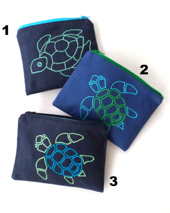 Sea Turtle Zipper Bag / Hand Embroidered Clutch Purse / Blue Cotton Duck Canvas / Wallet / Makeup Bag / Toiletry Bag / Made in Maine