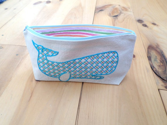 Whale Zipper Clutch / Hand Embroidered Zipper Pouches / Brodera Hallandssöm / Cotton Duck Canvas Zip Bag / Made in Maine / Swedish Folk