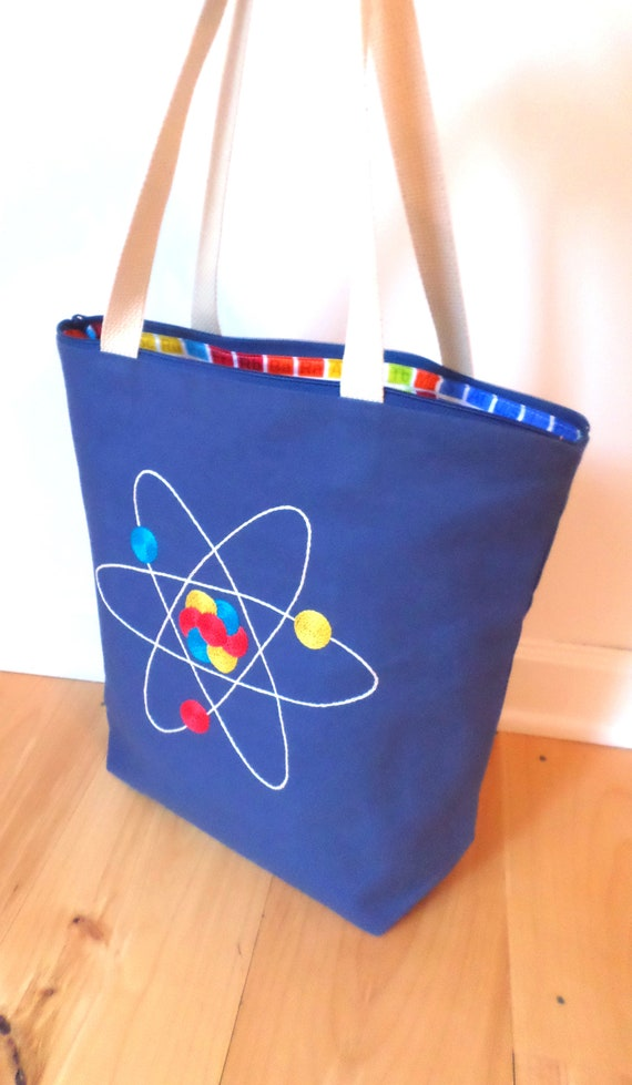 Atom Tote Bag / Zipper Canvas / Periodic Table of Elments Tote Bag / Hand Embroidered / Unique Handmade Science Bag / Made in Maine