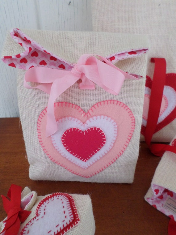 Valentine's Day Gift Bag Hand Embroidered Burlap & Felt