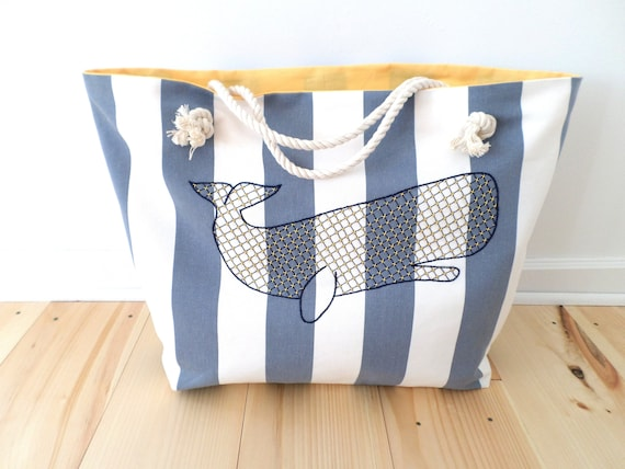 Blue Whale Striped Beach Bag / Unique Rope Beach Bag