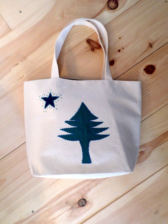 MEDIUM Original Maine Flag Tote Bag / 1901 Maine Flag Tote / Hand Embroidered Purse / Cotton Duck Canvas / Unique Handmade / Made in Maine