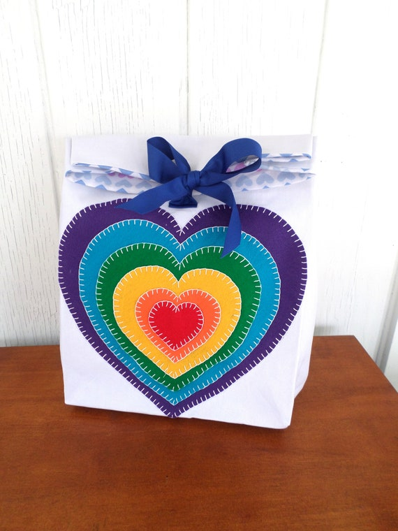 Hand Embroidered Canvas Reuseable Gift Bags - Rainbow Hearts