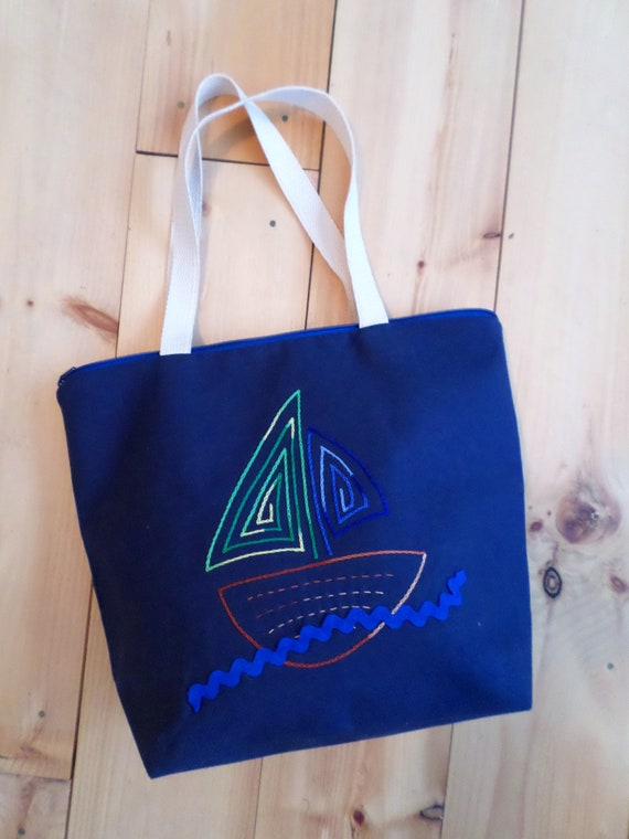 Sail Boat Zip Tote Bag / Hand Embroidered Purse / Navy Blue Cotton Duck Canvas / Unique Zippered Tote Bag / Made in Maine