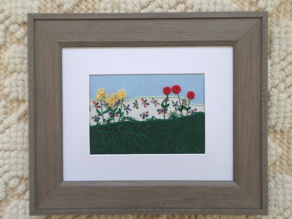 Summer #2, Hand-Embroidered Crewel Wall Art, Made in Maine