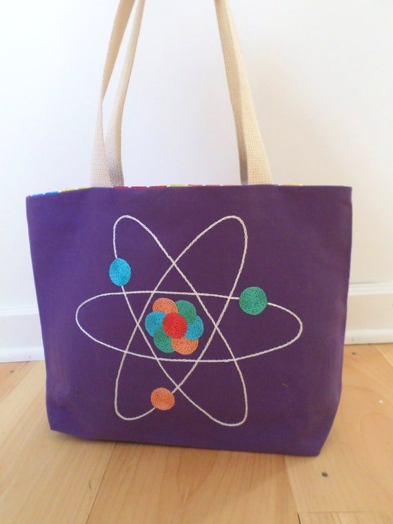 Atom Tote Bag / Periodic Table of Elments Tote Bag / Hand Embroidered Purse / Cotton Duck Canvas Unique Handmade Science Bag / Made in Maine