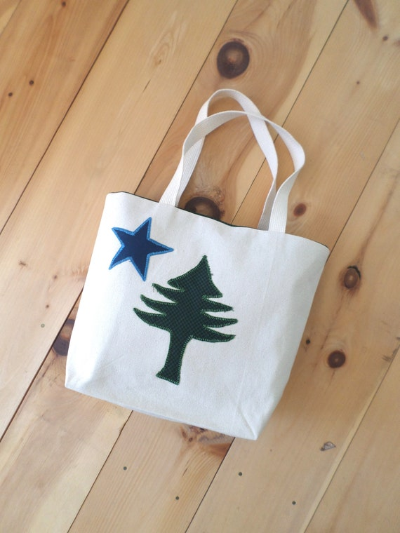 Original 1901 Maine Flag Tote Bag Hand Embroidered