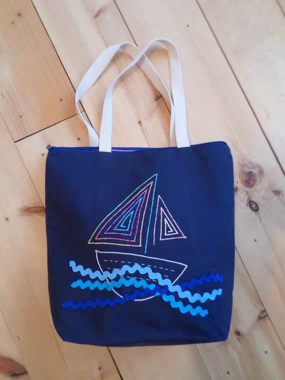 Sail Boat Zip Tote Bag / Hand Embroidered Purse / Navy Blue Cotton Duck Canvas / Unique Zippered Tote Bag / Made in Maine / Mediu Tall