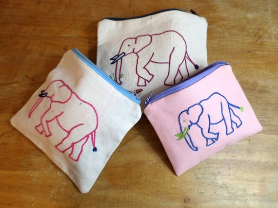 Pink Elephant Wallets / Zipper Pouch / Hand Embroidered Bag / Cotton Canvas Wallet / Pink & Blue Coin Purse / Made in Maine