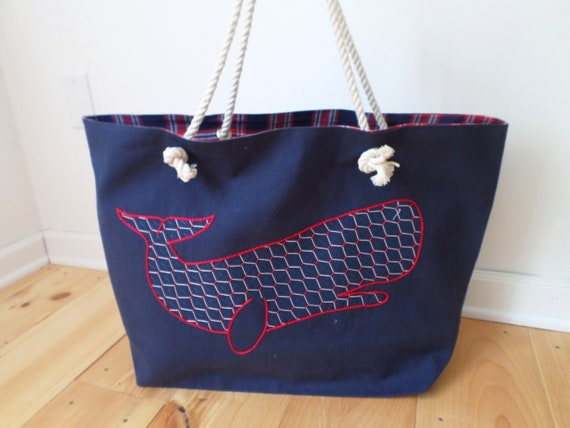 Navy Blue Whale Beach Bag / Unique Rope Beach Bag/ Brodera Hallandssom / Made in Maine