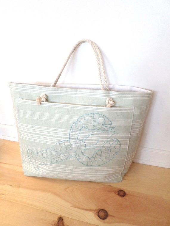 Seaglass Blue & Green Lobster Beach Bag / Unique Rope Beach Bag / Made in Maine