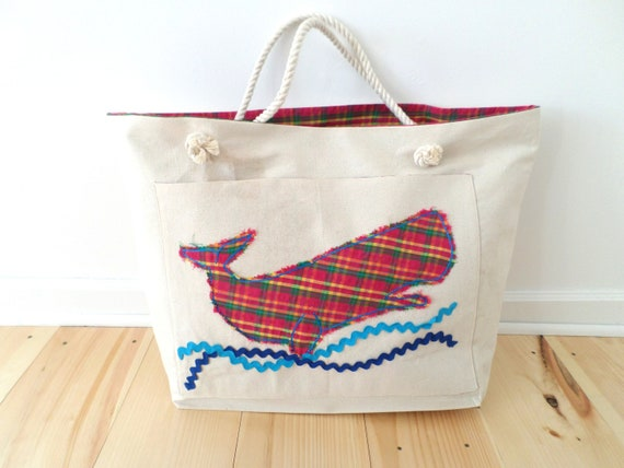 Plaid Pink Whale Canvas Beach Bag / Hand Embroidered Tote Bag