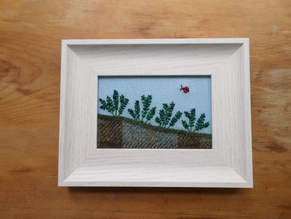 Wild Maine Blueberry Barren Hand-Embroidered Crewel Wall Art, Made in Maine