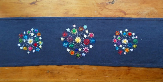 Hand Embroidered Linen Tabler Rnner, Fireworks Tablerunner, Made in Maine