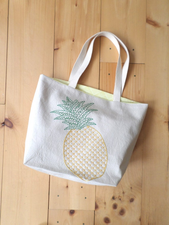 Pineapple Tote Bag / Hand Embroidered Purse / Cotton Duck Canvas / Tropical Handbag / Unique Handmade Bag / Made in Maine