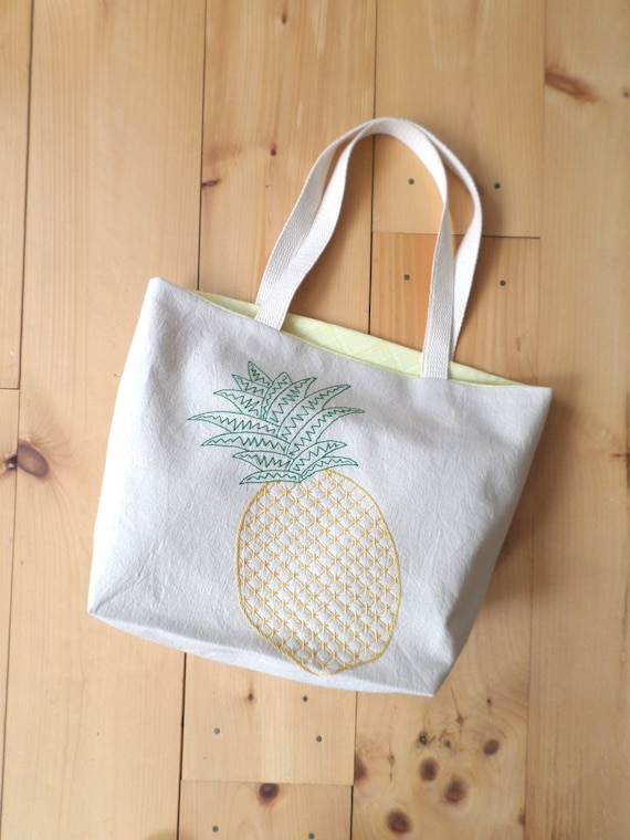 Pineapple Tote Bag Hand Embroidered Canvas