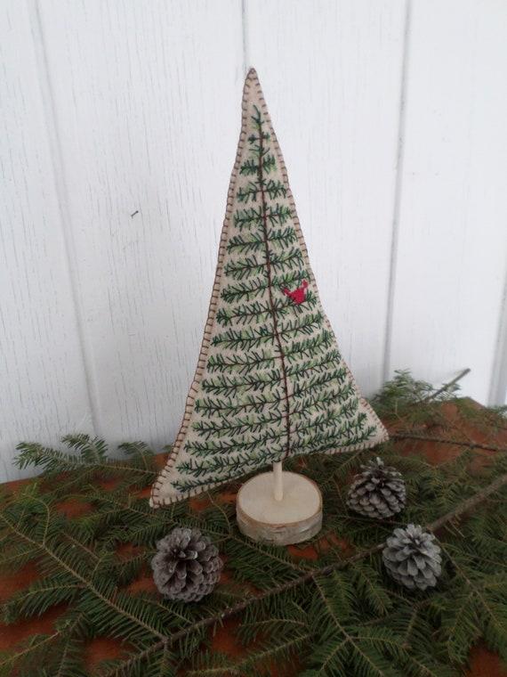 Maine Balsam Fir Hand Embroidered Felt Tabletop Tree Sculpture