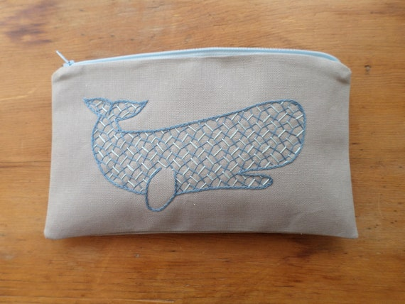 Whale Zipper Wallet / Hand Embroidered Zipper Pouch / Brodera Hallandssöm / Cotton Duck Canvas Zip Bag / Made in Maine / Swedish Folk