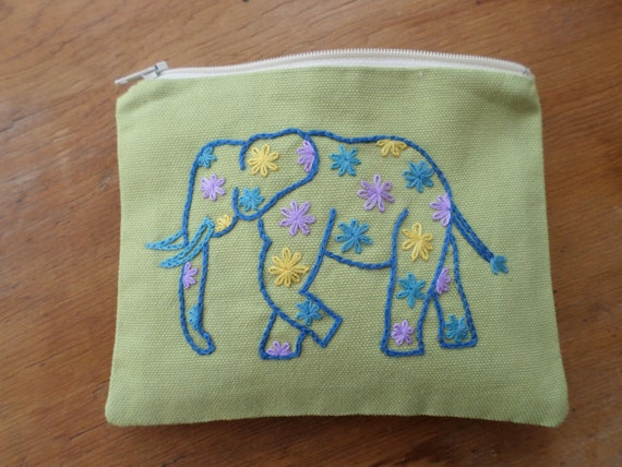 Elephant Wallet / Zipper Pouch / Hand Embroidered Bag / Cotton Canvas Wallet / Pink & Blue Coin Purse / Made in Maine