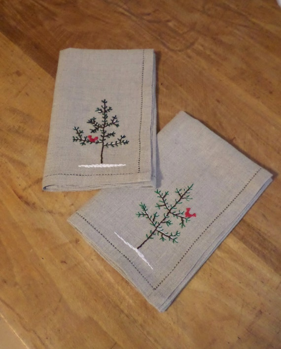 Holiday Linen Napkins - Set of 4, Hand Embroidered, Winter Table Napkins, Made in Maine