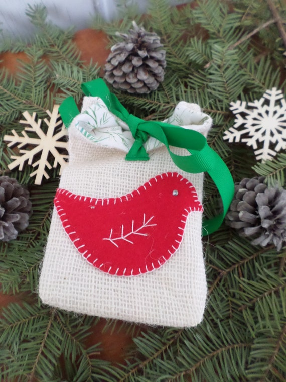 Mini Burlap Holiday Gift Bag, Reuseable Christmas Fabric Gift Bag, Made in Maine