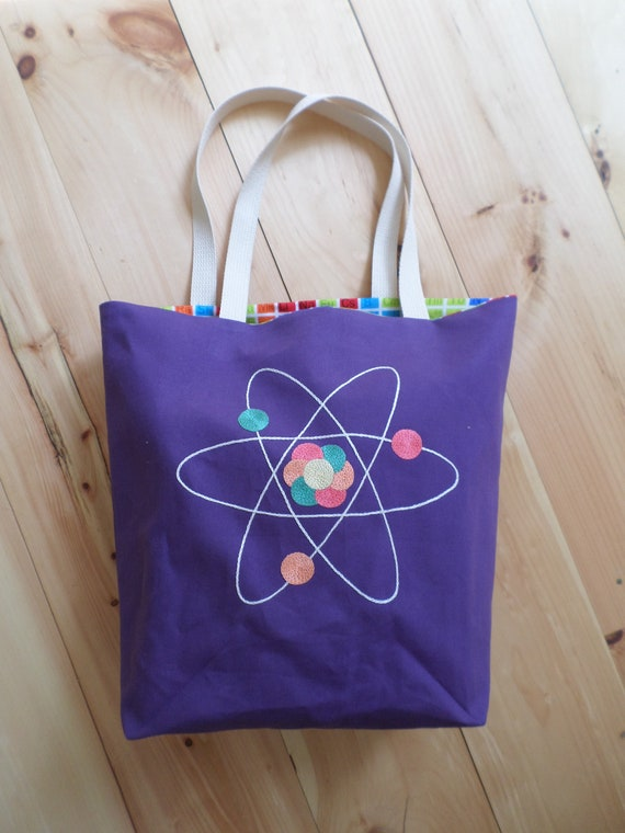 Atom Tote Bag Hand Embroidered Purse
