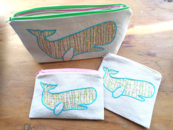 Whale Zipper Bags Hand Embroidered
