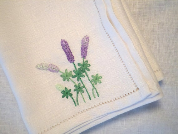 Hand Embroidered Linen Napkins, Set of 4 Large Napkins, Wild Maine Lupine Design, Made in Maine