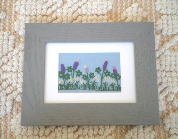 Lupine & Daisies Hand-Embroidered Crewel Wall Art, Made in Maine