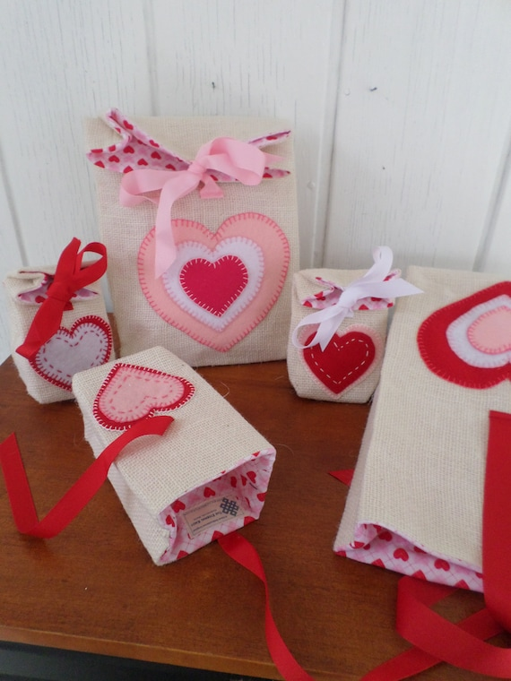 Burlap Valentine's Day Holiday Gift Bag, Reuseable Valentine Fabric Gift Bag, Hearts Gift Bag, Scandinavian Folk, Made in Maine